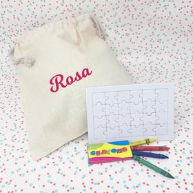 Puzzle para colorear con bolsa de tela personalizada con un nombre